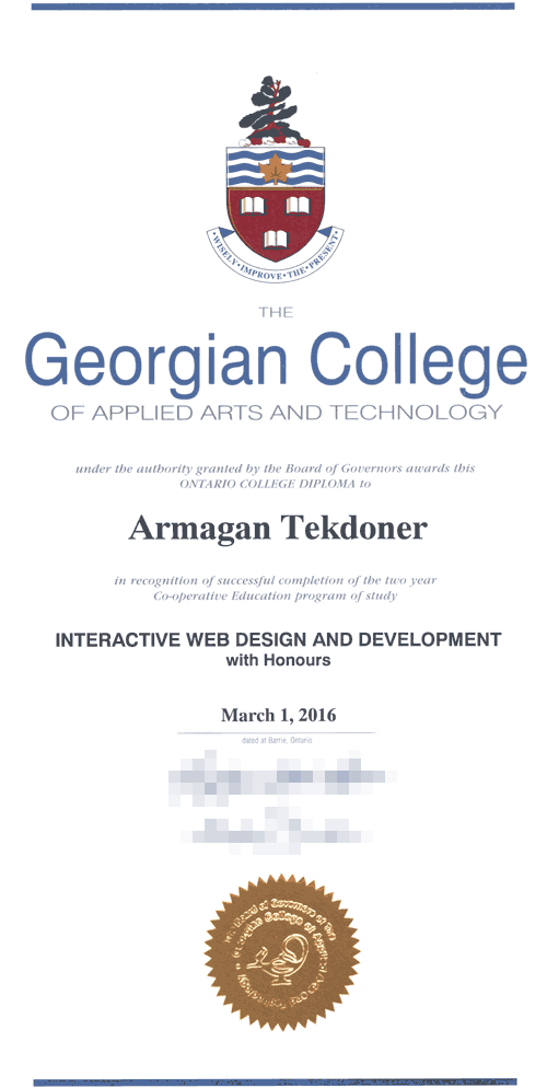 Armagan Tekdoner's College Diploma in Web Development